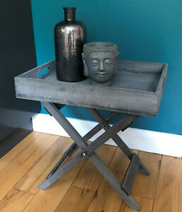 Grey Wooden Table Tray 50cm . Stylish Butler Table / Tray Grey Washed