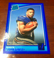 "2018 Donruss Saquon Barkley ""Blue Boarder"" Rated Rookie RC N.Y. Giants!!! MVP"