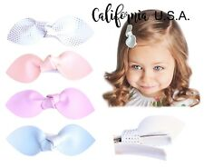 California Tot 4 Premium Faux Leather Bow Hair Clips for Toddler, Girls(Peach)