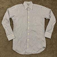 Peter Millar Mens Small S White Gray Black Plaid Checks Button Down Dress Shirt