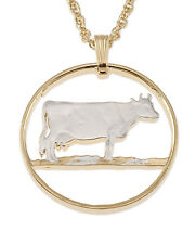 "Guernsey Cow Pendant & Necklace Guernsey Coin Hand cut 1"" diameter ( # 453 )"