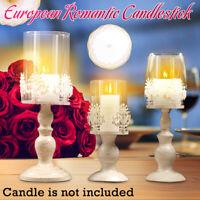 ☆ Vintage Pillar Candle Holder Glass Metal Candlestick Wedding Home Table Decor