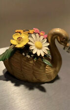 Brass Swan With Metal Flowers