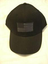 Turtle Fur Baseball Cap Hat Black USA American Flag 100% Cotton