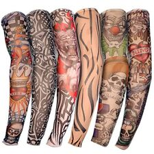 US 6pcs Nylon Fake Temporary Tattoo Sleeve Arm Stockings Tatoo for Men Women