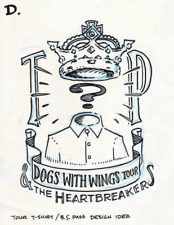 """Tom Petty & HBs """"Dogs With Wings"""" Tour Original Backstage Pass Concept Art"""