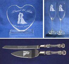 Crystal policeman Wedding Cake Topper glasses knife Engraved FREE *