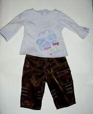 American Girl Brown Embroidered Satin Pants And Lt. Purple Top Vgc