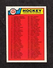 1983-84 UNMARKED CHECKLIST #134 OPC ** NM 7 Hard to Find #1-#132 NHL Hockey Card