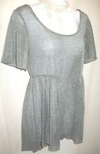 Lily White for Nordstrom Silver Metallic Shimmer Scoop Neck Top Sz M Dressy Long