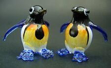 2 Tiny Glass PENGUINS Blue Painted Glass Animals Miniature Glass Ornaments Gift