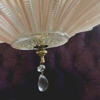 Antique Art Deco Sunflower Ceiling Light Lamp Fixture Chandelier Re-Wired