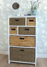 Tetbury Large White Storage Unit With 6 Drawers. Hallway Bathroom Basket Fully