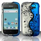 For Huawei Ascend Y H866C Rubberized HARD Case Snap On Phone Cover Blue Vines