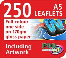250 A5 FULL COLOUR 1 SIDED LEAFLETS - FREE ARTWORK