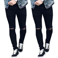Men's Skinny Denim Pants Ripped Destroyed Frayed Jeans Slim Fit Trousers Black