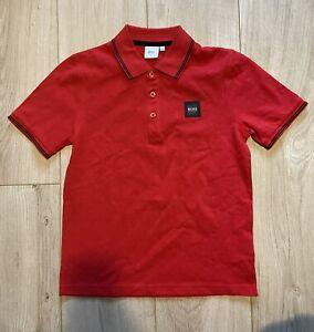 Hugo Boss Kids Boys Red Polo Shirt Top, Age 10-11