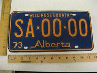 1973 73 ALBERTA CANADA SAMPLE LICENSE PLATE TAG SA-00-00
