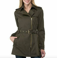 Michael Kors NWT $!50 Women's Belted Front-Zip Trench Coat Olive Size PP    WB74