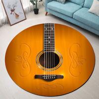 Round Floor Guitar Area Rug Home Decor Carpet Crawling Mat Yoga Rug