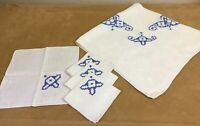 Vintage Tablecloth With Four Napkins, Woven Design With Flower Embroidery, Linen