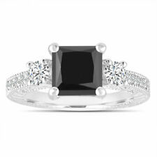 Platinum 2.28 Carat Enhanced Black Diamond Engagement Ring, Certified Handmade