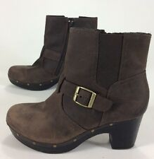 Womens Clarks Ankle Boots Booties Brown Leather Size 8