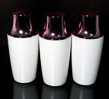 3 Plastic Bottles White with Pink Cap Beauty Makeup Containers 8.5 oz. #9328