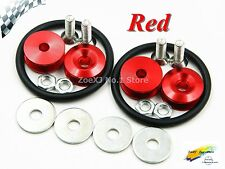 Red Aluminum QUICK RELEASE FASTENERS KIT FOR BUMPER&TRUNK HATCH CAR/TRUCK