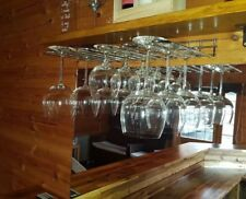 Steel Stainless 2rows Wine Glass Rack Hanger Holder Stemware Shelf Bar Accessory