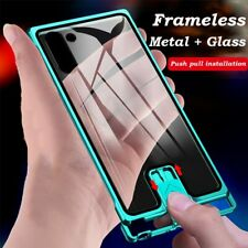 Frameless Aluminum Bumper Case For Samsung Galaxy Note10 + Tempered Glass Cover