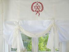 Raff Gardine JOEL 140x140 Weiß Rot Deko LillaBelle Shabby Landhaus curtain