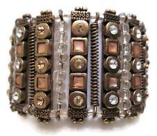 £40 Boho Tribal Aztec Gold Brown Beaded Wide Bracelet Swarovski Elements Crystal