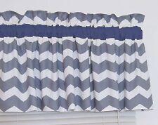 Dark Navy Blue and Gray Chevron Window Curtain Valance Bedroom Nursery FREE SHIP