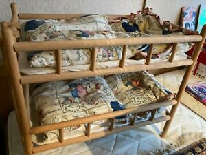 Großes Puppenbett Puppenetagenbett Holz Massiv incl. Bettwäsche und Leiter