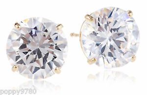 14k Yellow Gold Solitaire 2 CT Round Basket 6mm Cubic Zirconia CZ Stud Earrings