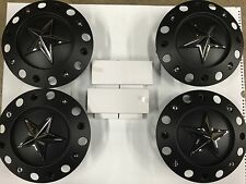 NEW KMC XD ROCKSTAR CENTER WHEEL CAP SET OF 4 1000775B S409-51 XD775 BLACK BOLT