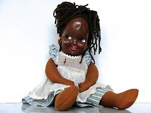 "Vintage 19"" BLACK DOLL CLOTH BODY CELLULOID MASK FACE Little Girl"