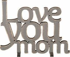 """NEW!~Grey Wood Word Art Sign~""""LOVE YOU MOM""""~Plaque/Stand~Home Decor~Picture"""
