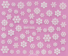 Christmas WHITE Snowflakes Glittery Xmas 3D Nail Art Sticker Decals UV SMY055