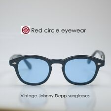 Vintage Depp sunglasses artists mens eyeglasses womens Black frame Blue lens M