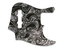 NEW - Pickguard For Fender Geddy Lee Jazz Bass, BLACK/SILVER PAISLEY
