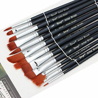 12 Piece/set Assorted Artist Paint Brush Set Acrylic Oil Watercolor Synthetic
