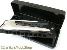 Professional swan blues power harmonica+case harp G tuned 10 hole 3 octaves