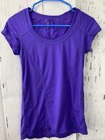 Zella Athletic Ruched Tee Purple Scoop Neck Active Top Short Sleeve Size S/P