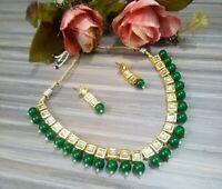 Indian Bollywood Kundan Necklace Gold Plated Meenakari Pearls Fashion Jewellery