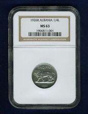 ALBANIA   1926-R   1/4 LEKU COIN, CHOICE UNCIRCULATED, CERTIFIED NGC MS63