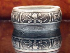 Memento Mori Pirate coin ring made from pure silver coin. Can size 7-16