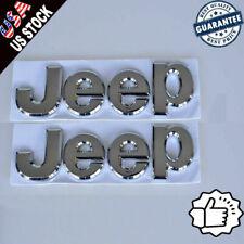 Silver Chrome 3D Jeep Hood Trunk Tailgate Emblem Logo Stickers Badge Set 2pcs