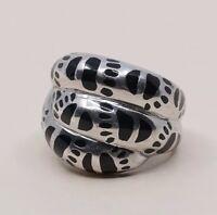 Sz 6, Vtg Sterling Silver Handmade Ring, 925 Silver Band W Obsidian Inlay